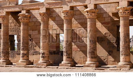 Carved Column At Edfu Temple.