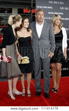 Lily Costner, Annie Costner, Kevin Costner and wife Christine Baumgartner attend the Los Angeles Premiere of