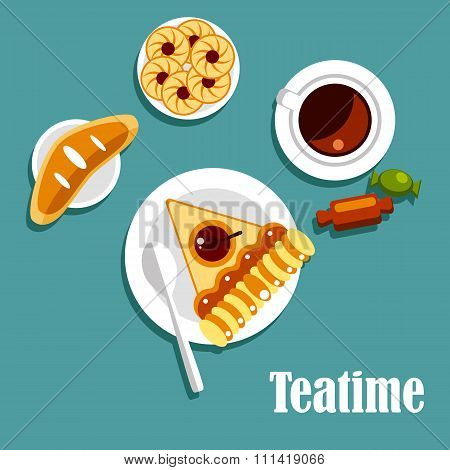Teatime food with cup of tea, pastries and candies
