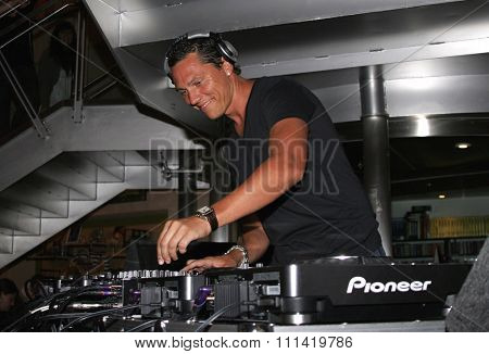 DJ Tiesto, the world's number 1 trance deejay spins his set and meets his fans held at the Virgin Megastore in West Hollywood, California, United States on August 10, 2007.