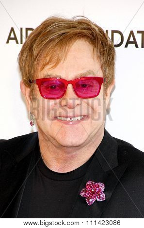 Elton John at the 21st Annual Elton John AIDS Foundation Academy Awards Viewing Party held at the Pacific Design Center in Los Angeles, United States, 240213.