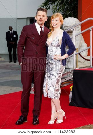 Ethan Hawke and Sarah Snook at the Ethan Hawke Hand And Footprint Ceremony held at the TCL Chinese Theatre in Los Angeles on Wednesday January 8, 2015.