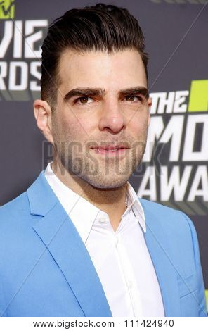 Zachary Quinto at the 2013 MTV Movie Awards held at the Sony Pictures Studios in Los Angeles, United States, 14/04/13.