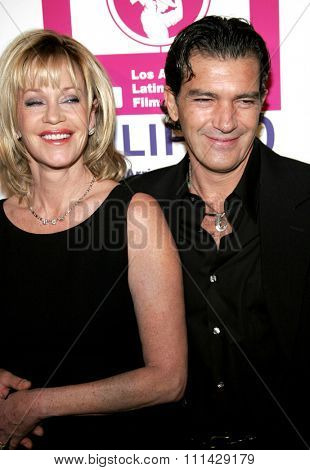 Melanie Griffih and Antonio Banderas attend the LALIFF Gabi Awards Honoring Antonio Banderas held at the Egyptian Theatre in Hollywood, California on October 14, 2006.