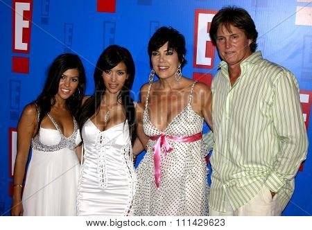August 1, 2005. Bruce Jenner, Kris Jenner, Kourtney Kardashian and Kim Kardashian attend at the E! Entertainment Television's Summer Splash Event at The Hollywood Roosevelt Hotel in Hollywood .