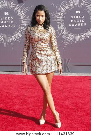 Nicki Minaj at the 2014 MTV Video Music Awards held at the Forum in Los Angeles on August 24, 2014 in Los Angeles, California.