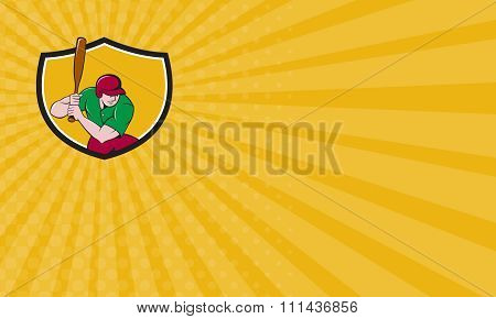 Business Card Baseball Player Batting Shield Cartoon