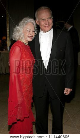 BEVERLY HILLS, CALIFORNIA. November 19, 2005. Buzz Aldrin and wife at the Diamond Jubilee Spirit of Hollywood Awards at the Beverly Hilton Hotel in Beverly Hills, California United States.
