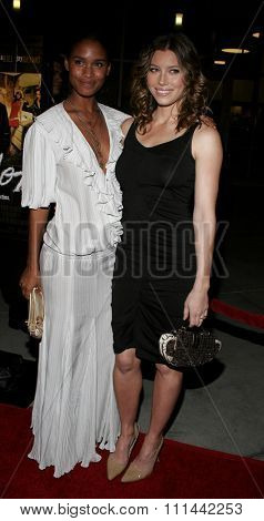 Jessica Biel and Joy Bryant attend the Los Angeles Premiere of