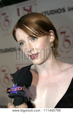 Bryce Dallas Howard at the 75th Diamond Jubilee Celebration for the USC School of Cinema-Television held at the USC's Bovard Auditorium in Los Angeles, United States on September 26 2004.