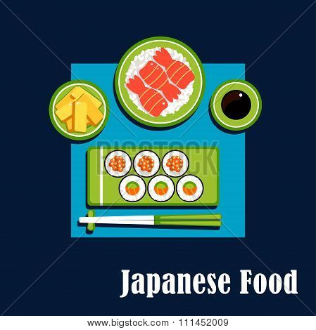 Traditional japanese cuisine dinner icons