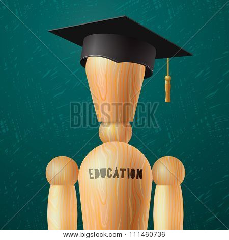 Education design, wooden dummy in the mortarboard