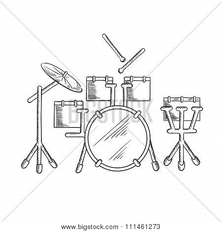 Sketch of drum set with traditional kit
