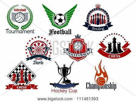 Sport games emblems and icons set