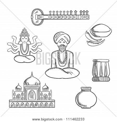 Indian culture and religion sketch icons