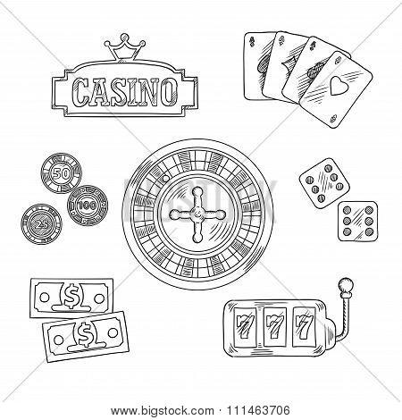 Casino and gambling sketched symbols
