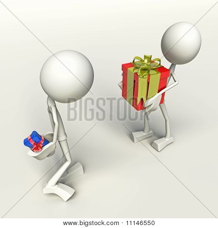 3D Characters Exchanging Presents
