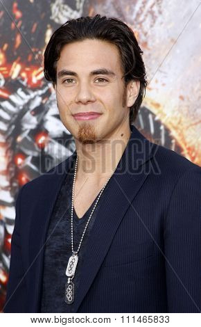Apolo Ohno at the Los Angeles premiere of 'Battleship' held at the Nokia Theatre L.A. Live in Los Angeles on May 10, 2012.