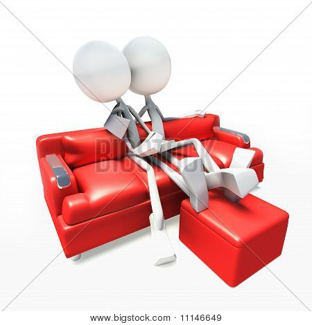 3D Characters Watching Television From Sofa