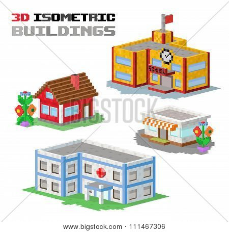 Buildings vector illustration shop, hospital, school, family house