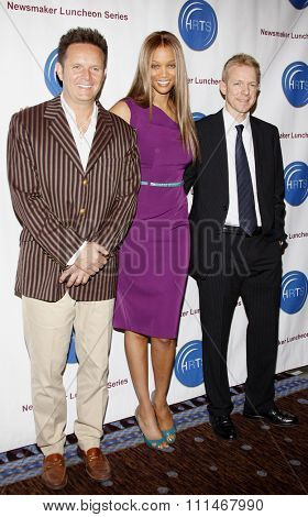 Mark Burnett, Tyra Banks and Kevin Beggs at the HRTS'