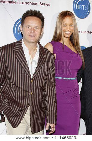 Mark Burnett and Tyra Banks at the HRTS'