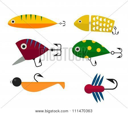 Fishing hooks icons vector illustration
