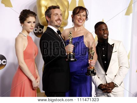 Anna Kendrick, Patrick Osborne, Kristina Reed and actor Kevin Hart at the 87th Annual Academy Awards Press Room held at the Loews Hollywood Hotel in Hollywood on February 22, 2015.