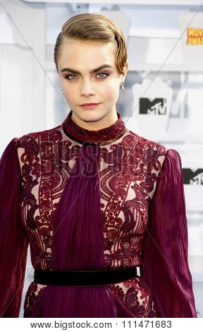Cara Delevingne at the 2015 MTV Movie Awards held at the Nokia Theatre L.A. Live in Los Angeles, USA on April 12, 2015.