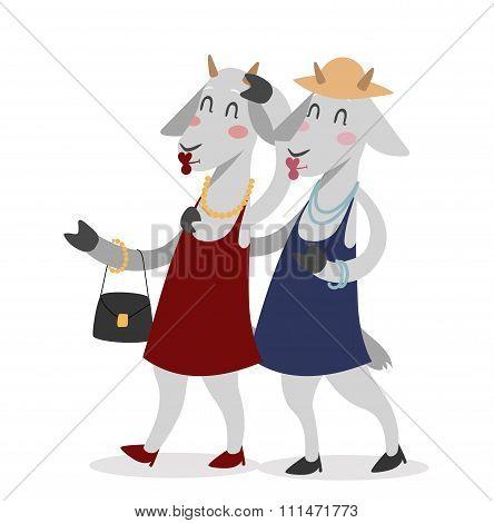 Goat girls couple friends vector portrait illustration on white background