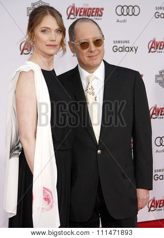 James Spader and Leslie Stefanson at the World premiere of Marvel's 'Avengers: Age Of Ultron' held at the Dolby Theatre in Hollywood, USA on April 13, 2015.