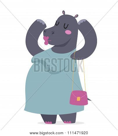Hippo fat woman vector portrait illustration on white background