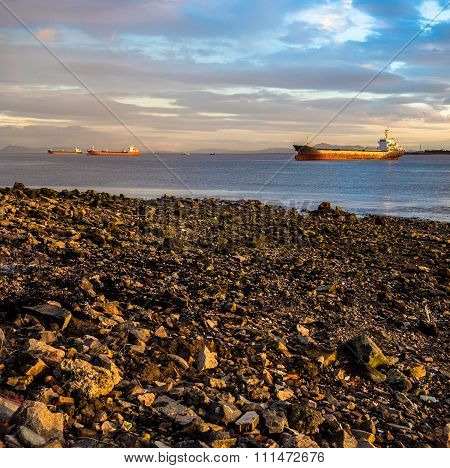 Seashore With Freighters