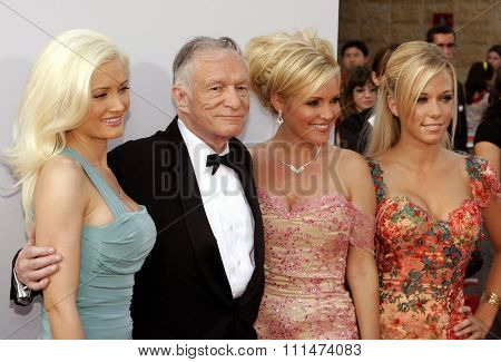 Holly Madison, Hugh Hefner, Bridget Marquardt and Kendra Wilkinson attend the 35th Annual AFI Life Achievement Award held at the Kodak Theatre in Hollywood, California on June 7, 2007.