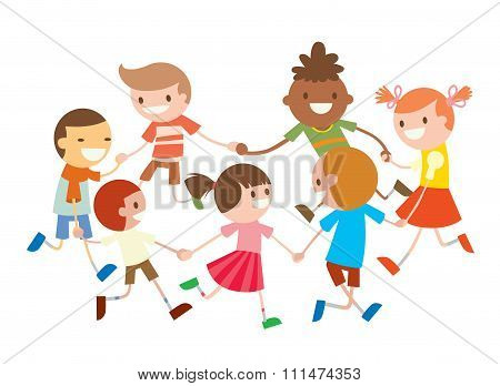 Children round dancing. Party dance in baby club illustration