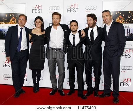 Sergio G. Sanchez, Ewan McGregor, Juan Antonio Bayona, Belen Atienza, Alvaro Augustin and Ghislain Barrois at 'The Impossible' screening held at the Chinese Theatre in Hollywood on November 4, 2012.