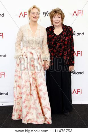 Meryl Streep and Shirley MacLaine at the 40th AFI Life Achievement Award Honoring Shirley MacLaine held at the Sony Studios in Los Angeles on June 7, 2012.