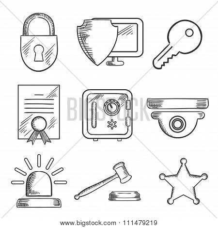 Security and safety sketched icons set