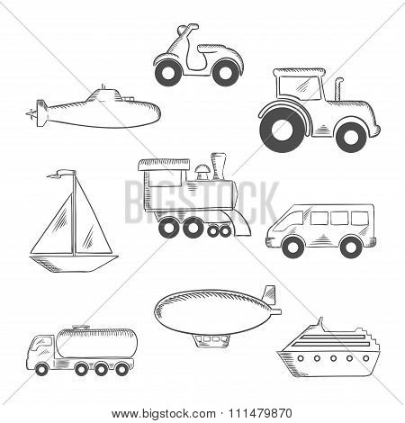 Transport and industrial sketched icons