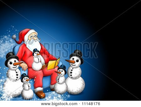 Xmas Fairy-tale With Santa Claus And Snowman