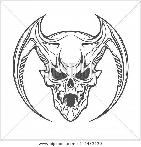 Demon Skull on white