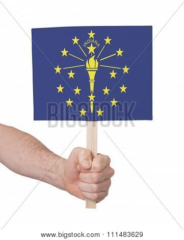 Hand Holding Small Card - Flag Of Indiana