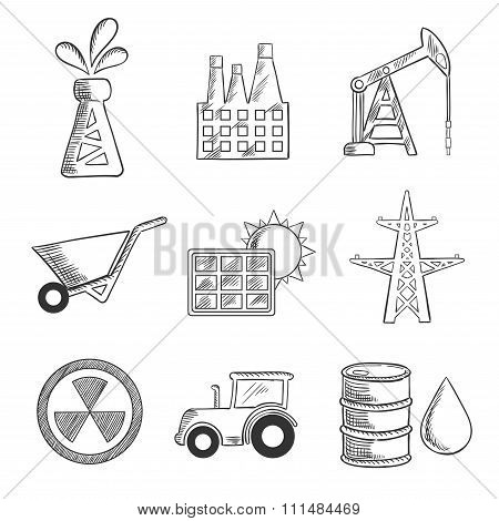Industrial and mining sketched icons