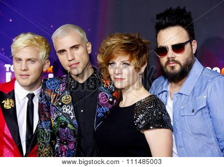 Chris Allen, Tyler Glenn, Elaine Bradley and Branden Campbell of Neon Trees at the  2012 Halo Awards held at the Hollywood Palladium in Hollywood on November 17, 2012.