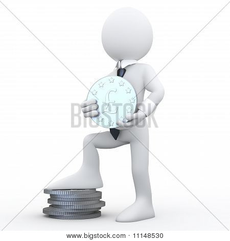 3D man holding a coin with the symbol of the pound and the feet resting on a pile of coins