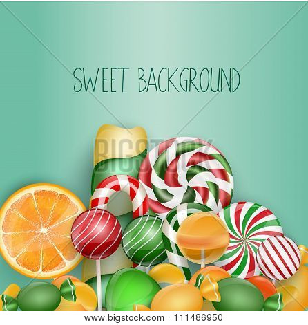 Sweet background with lolipop, ice cream, orange and candies