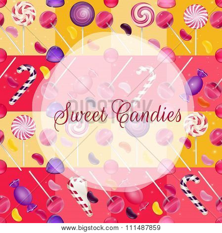 Sweets background with lolipop and jelly beans