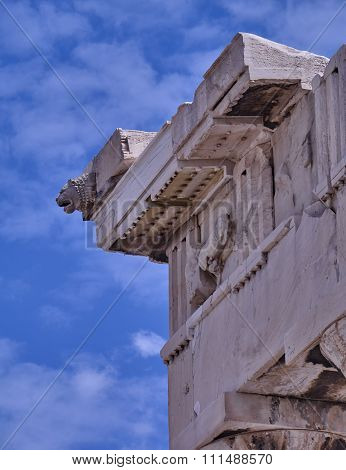 Athens Greece, lion head on Parthenon ancient temple