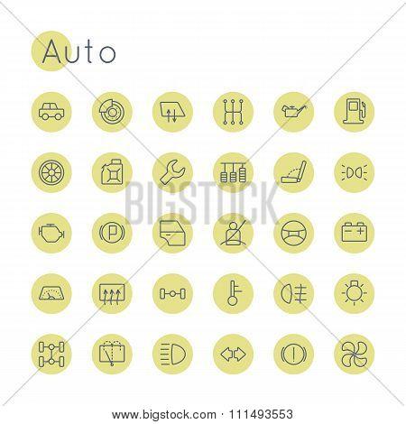 Vector Round Auto Icons
