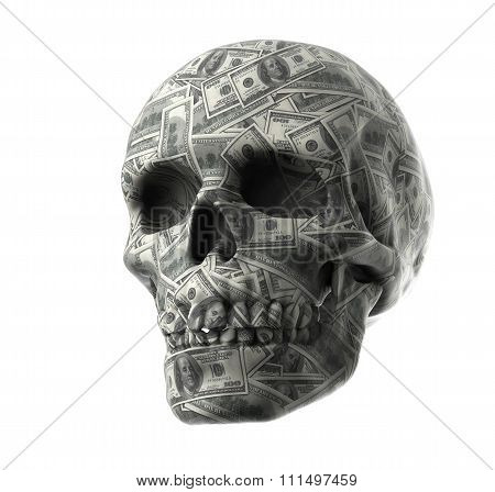 Bank Note Wrap Around Human Skull On White Background With Clipping Path
